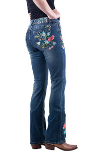 Grace in L.A. Floral Embroidery Boot Cut Jeans - Hero