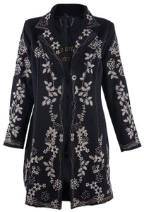 Paparazzi by Biz Natural Embroidered Black Coat - Front