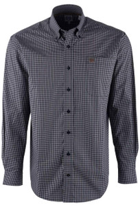 Cinch Black & Khaki Mini Check Sport Shirt - Front