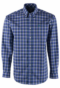 Cinch Purple & Turquoise Plaid Sport Shirt - Front