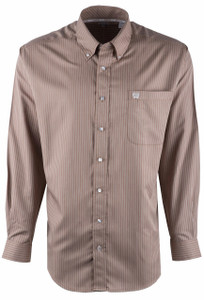 Cinch Khaki Stripe Tencel Sport Shirt - Front