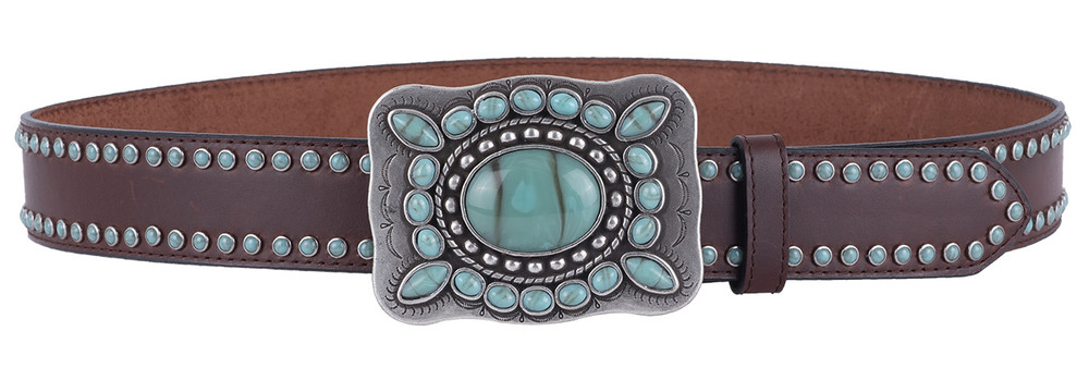 M & F Western Turquoise Trophy Buckle Belt - Front