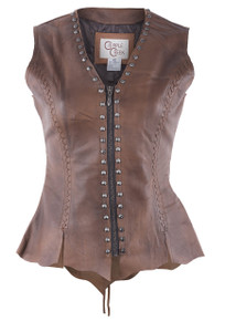 Cripple Creek Vintage Brown Leather Vest With Studs  - Front