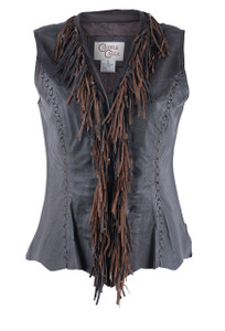 Cripple Creek Antique Chocolate Leather Vest With Fringe  - Front