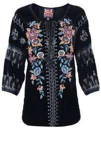 Johnny Was Eleni Velvet Peasant Blouse - Front