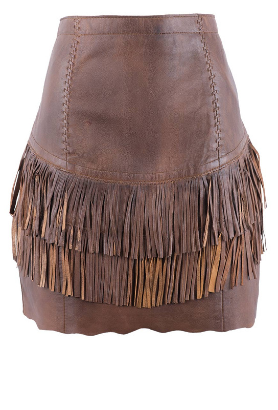 Cripple Creek Tiered Fringe Leather Skirt - Front