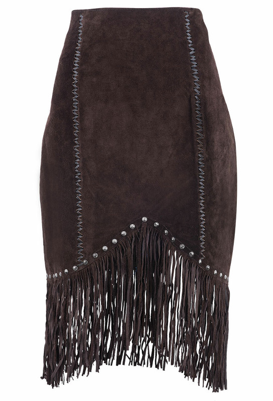 Cripple Creek Chocolate Suede Fringe & Stud Skirt - Front