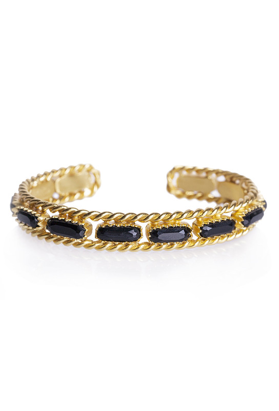 Christina Greene Black Onyx Cable Bangle Bracelet
