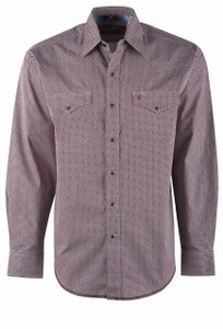 Stetson Brown Dot Geometric Snap Shirt - Front
