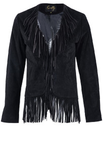 Scully Black Fringe Suede Short Jacket - Front