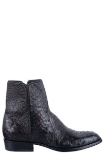 Stallion Men's Black Cherry Full Quill Ostrich Zorro Boots - Side