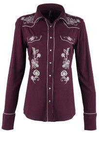 Stetson Wine Cowgirl Embroidered Snap Shirt - Front