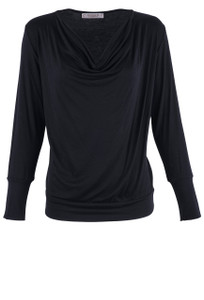 Veronica M Women's Cowl Neck Banded Top - Front