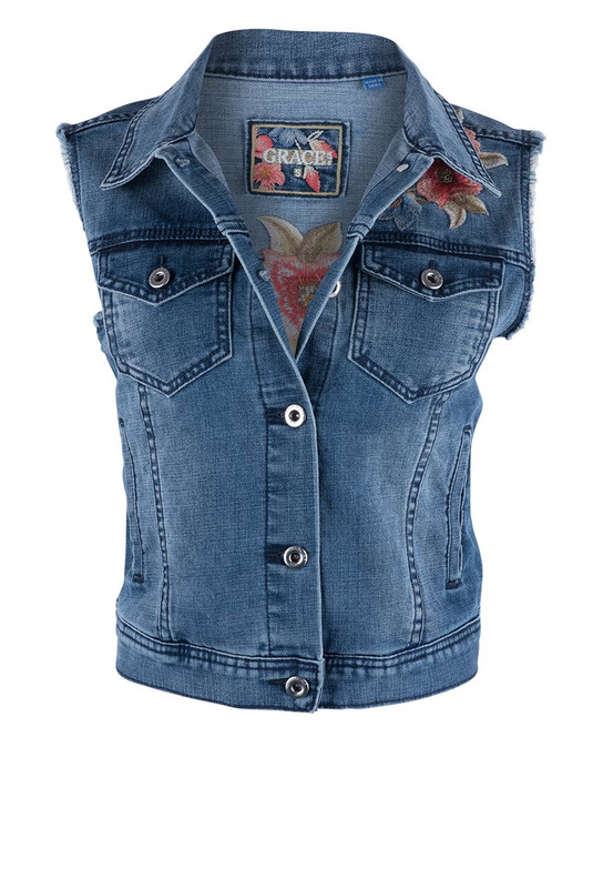 Grace in L.A. Coral Floral Denim Vest - Front