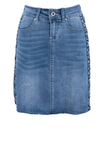 Grace in L.A. Pearl Side Embroidered Denim Skirt - Front