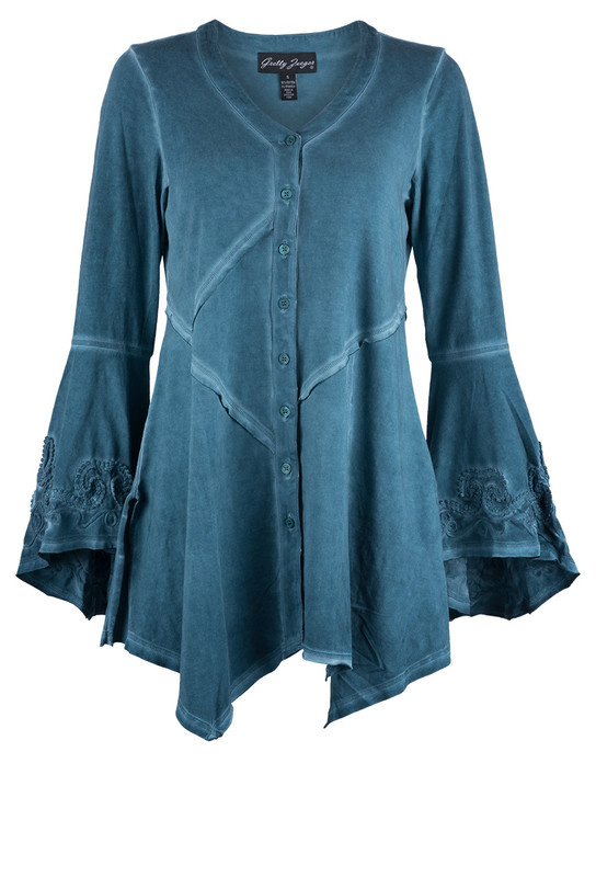 Gretty Zueger Pintuck Lace Bell Sleeve Tunic - Front