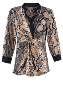 Kay Celine Women's Gathered Snake Blouse - Front