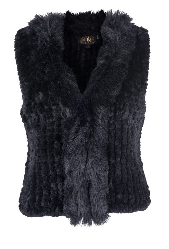 Metric Short Faux Fox Fur Vest - Front