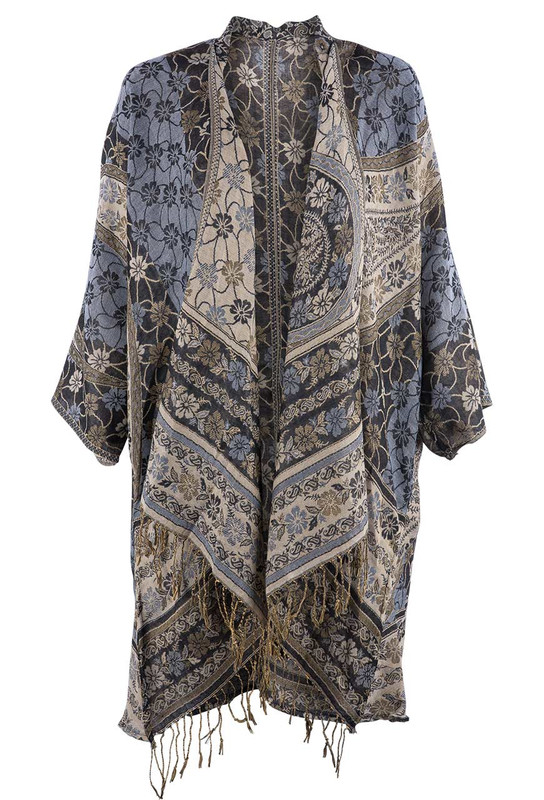 Paparazzi by Biz Women's Black & Gold Kimono - Front