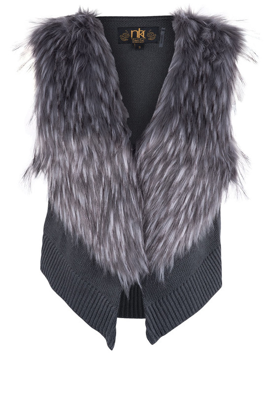 Metric Knit Vest with Faux Fox Fur Collar - Front