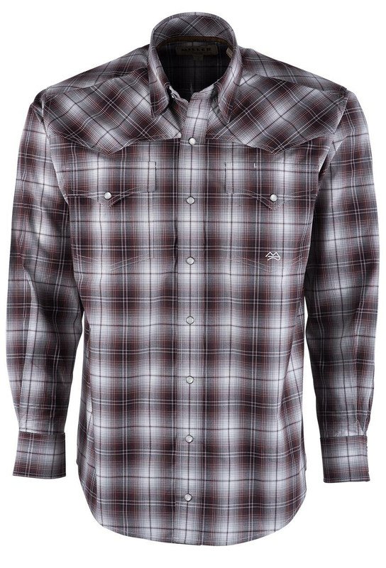 Miller Ranch Wine Red Plaid Western Snap Shirt - Front
