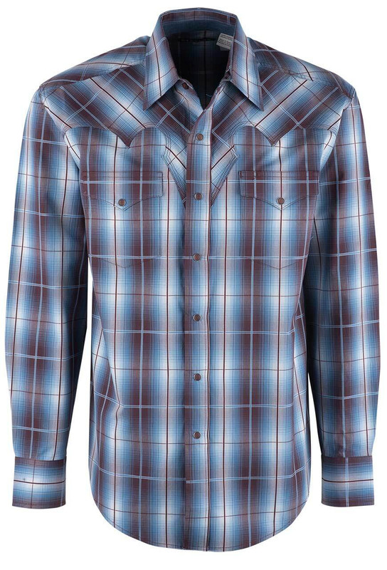 Stetson Brown & Blue Double Windowpane Ombre Plaid Snap Shirt - Front