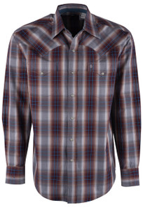 Stetson Mahogany Ombre Plaid Snap Shirt - Front