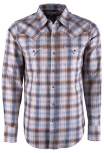 Stetson Men's Brown Fall Dobby Plaid Snap Shirt - Front