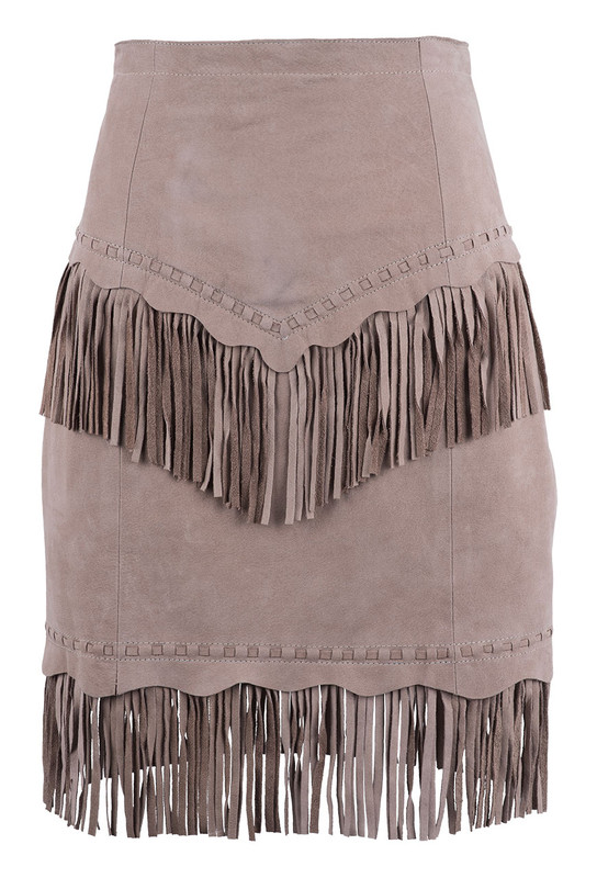 Cripple Creek Vintage Suede Fringe Skirt - Front