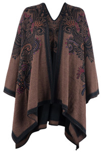 Peruvian Perfection Copper & Black Reversible Alpaca Shawl - Front
