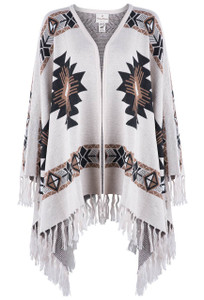 Peruvian Perfection Southwestern Ivory Shawl With Fringe - Front