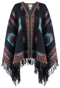 Peruvian Perfection Southwestern Shawl With Fringe - Front