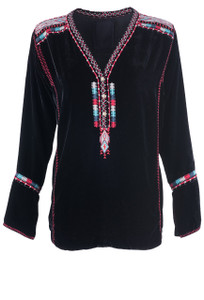 Johnny Was Ybom Velvet Blouse - Front