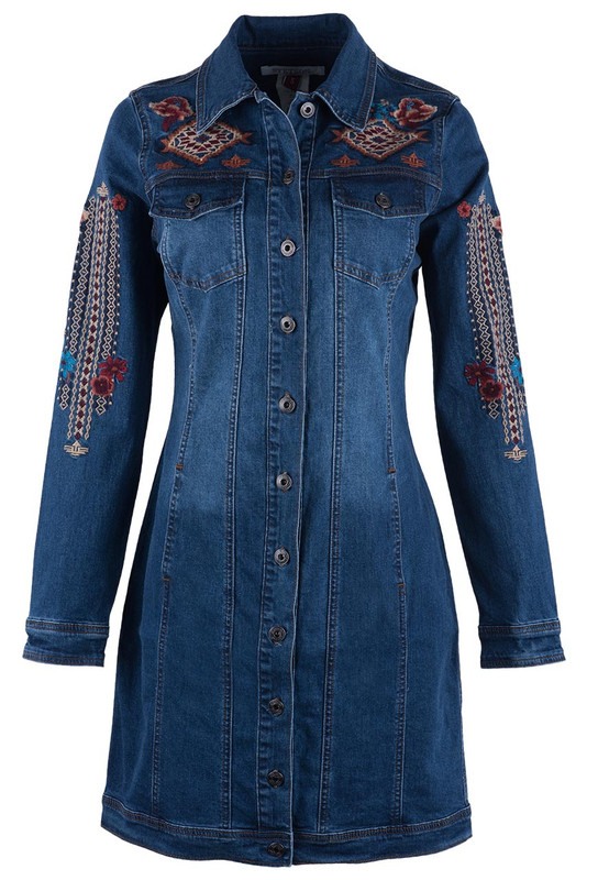 STETSON EMBROIDERED DENIM JACKET DRESS