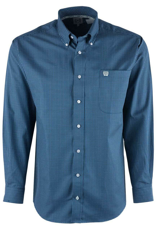 Cinch Navy Mini Check Tencel Sport Shirt - Front