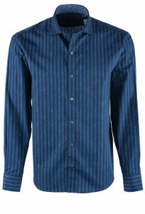 Bugatchi Night Blue Track Stripe Shirt - Front