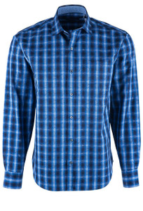 Bugatchi Navy Overlan Ombre Plaid Shirt - Front