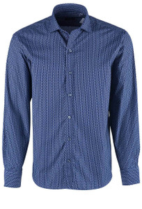 Bugatchi Midnight Stripe & Velvet Dash Shirt - Front
