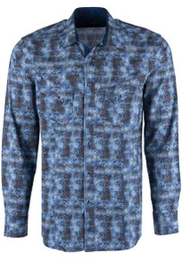 Pinto Ranch YY Collection Rusty Blues Snap Shirt - Front