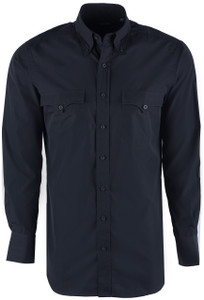 Lyle Lovett Men's Black Solid Poplin Shirt - Front