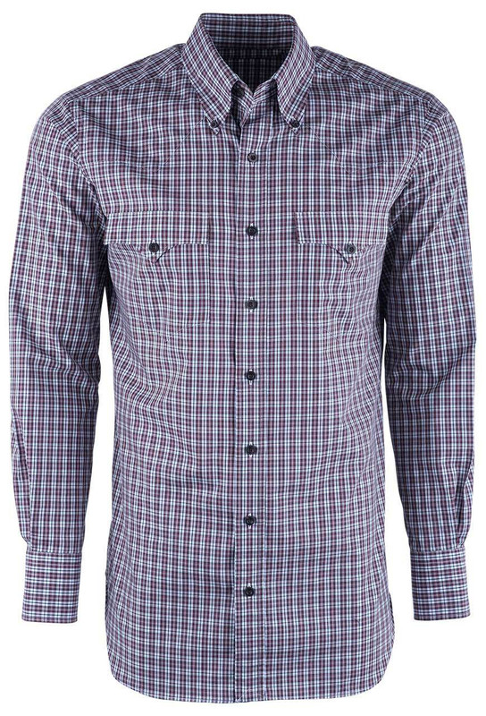 Lyle Lovett Men's Wine & Black Sport Check Shirt - Front