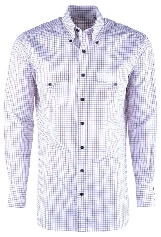 Lyle Lovett Men's Red & Black Windowpane Check Shirt - Front
