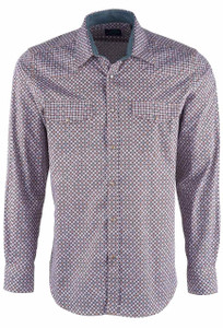 Pinto Ranch YY Collection Men's Classic Copper Turquoise Links Snap Shirt - Front