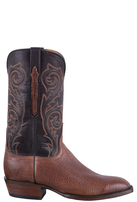LUCCHESE MEN'S WHISKEY BRANDISHED AMERICAN BISON BOOTS