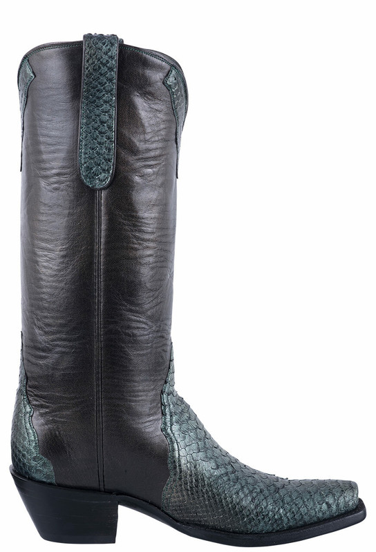 Stallion Metallic Green Python Gallegos Cowgirl Boots - Side