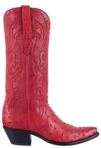 Stallion Red Full Quill Ostrich Gallegos Cowgirl Boots - Side