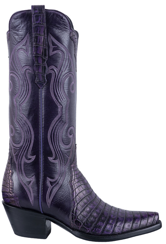 STALLION WOMEN'S PURPLE CAIMAN GALLEGOS BOOTS