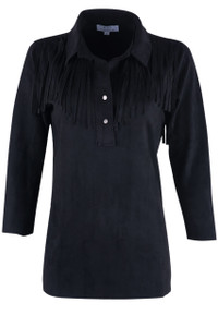 W.A.Y. Women's Collared & Slitted Fringe Shirt  - Front