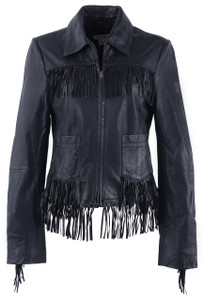 Stetson Women's Leather Jacket with Fringe - Front