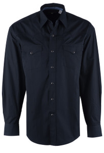 Stetson Black Solid Peached Poplin Snap Shirt - Front
